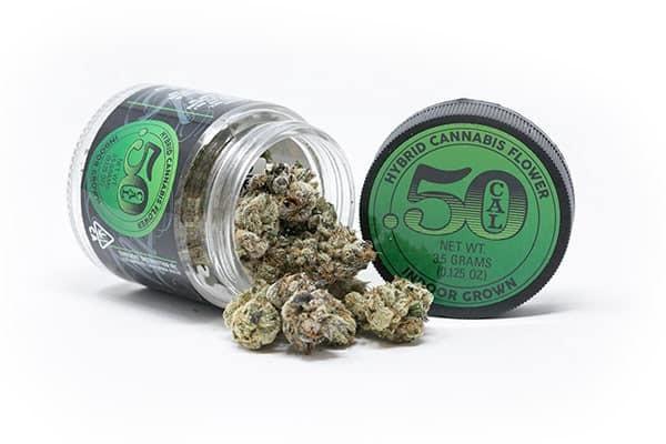 Jar of 50 Cal cannabis of Gelato strain