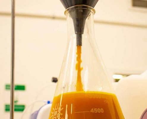 """Adding 10 to 1 alcohol to cannabis budder prepares the extract for the """"winterization"""" process"""