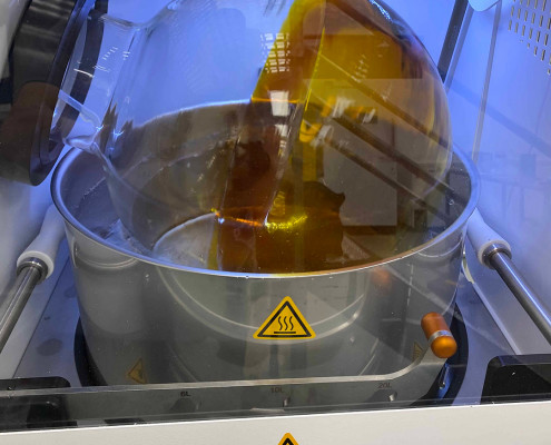 Heidolph rotary evaporator for recovering alcohol after dewaxing.